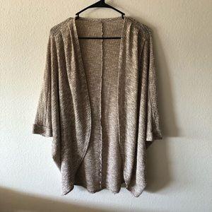 Tan waffle knit open cardigan